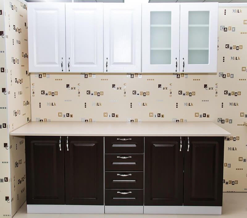Купить недорогой модульный Кухонный гарнитур Прага-02 Белое дерево/Венге  Премиум. Кухни на заказ | 706x800